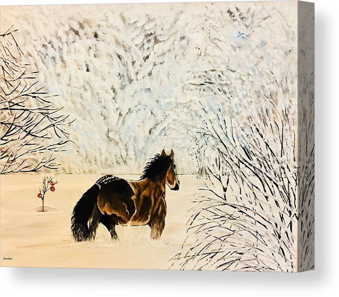 Horse Canvas Print featuring the painting Prancing Through The Snow by John Rankin