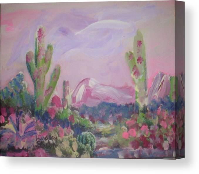 Landscape Canvas Print featuring the painting Purple Surprise by Lindsay St john