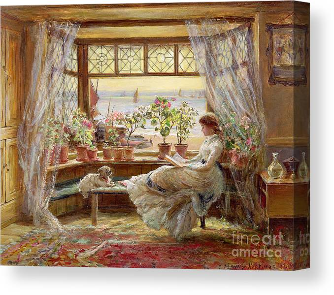 Dog Canvas Print featuring the painting Reading By The Window by Charles James Lewis