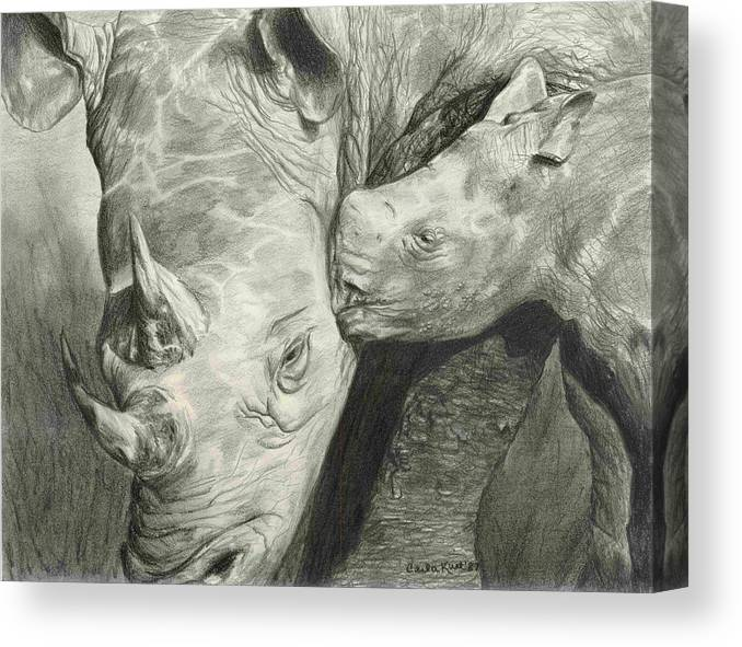 Rhino Canvas Print featuring the drawing Rhino Love by Carla Kurt