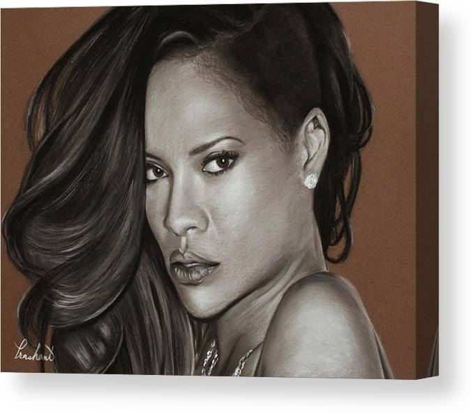 Rihanna Canvas Print featuring the drawing Rihanna Portrait by Prashant Shah