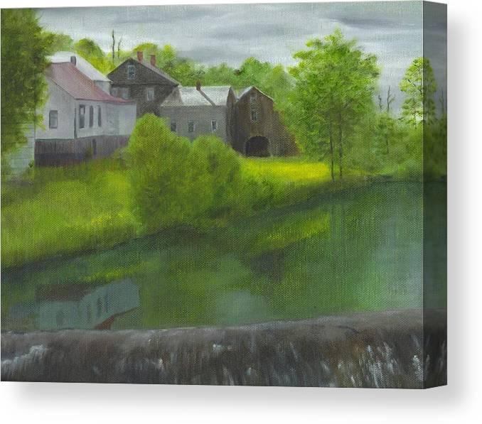 Landscape Canvas Print featuring the painting Sacketts Dam by Laurel Ellis