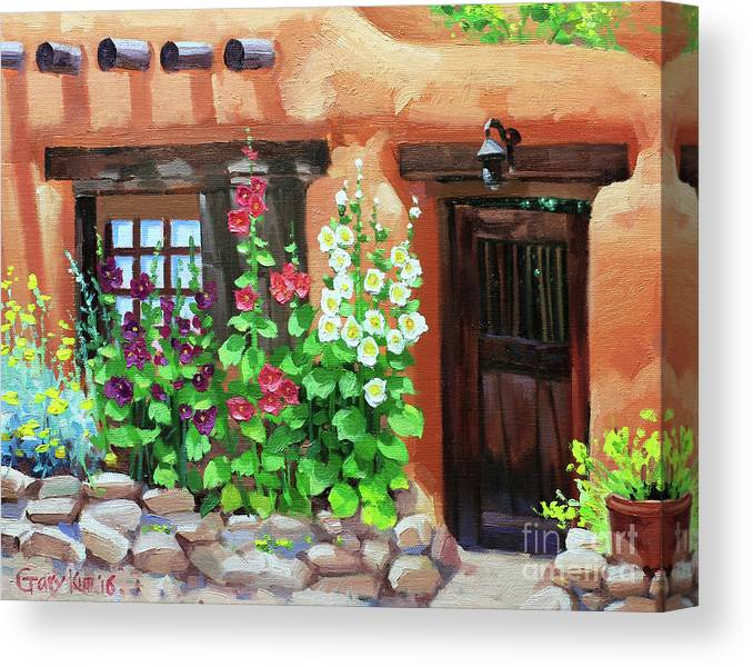 Canvas Santa Fe >> Santa Fe Hollyhocks Canvas Print