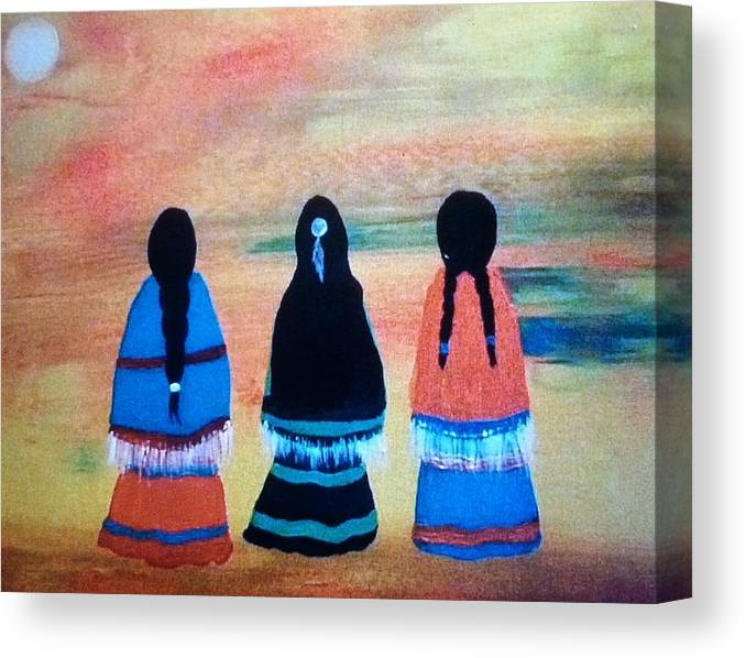 Cherokee Canvas Print featuring the painting Sisters by Terri Smith Asbury