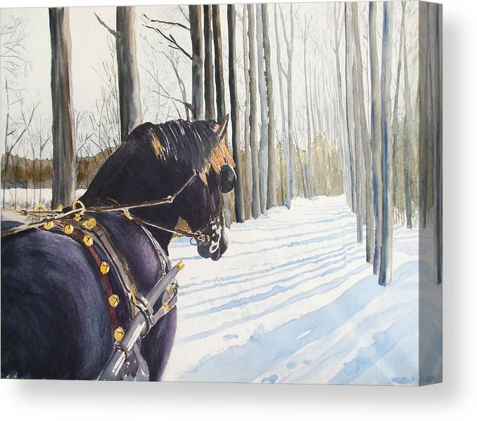 Horse Canvas Print featuring the painting Sleigh Bells by Ally Benbrook