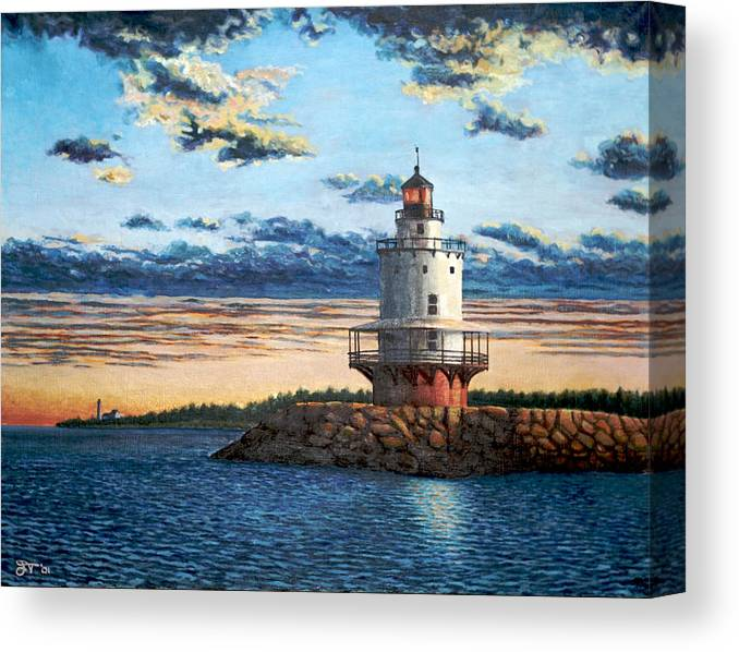 Portland Canvas Print featuring the painting Spring Point Lighthouse by Jeff Toole