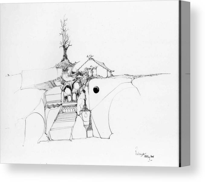 Rocks Canvas Print featuring the drawing Stairs To A Temple And A Tree Among Rocks by Padamvir Singh