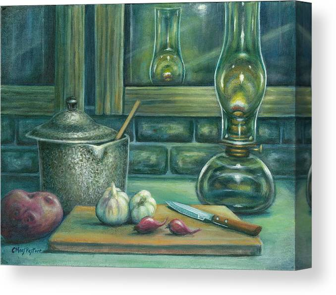 Painting Canvas Print featuring the painting Still Life With Garlic by Colleen Maas-Pastore