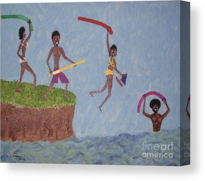 Swimming Canvas Print featuring the painting Summer Time Fun by Gregory Davis