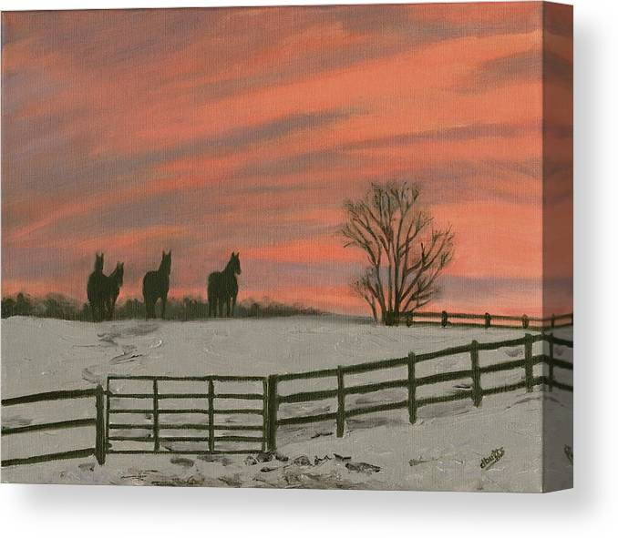 Sunrise Canvas Print featuring the painting Sunrise Silhouettes by Deborah Butts