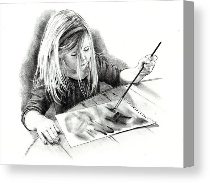 Child Canvas Print featuring the drawing The Budding Artist by Joyce Geleynse