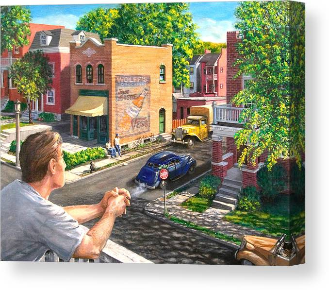 Cityscape Canvas Print featuring the painting The Old Neighborhood by Edward Farber