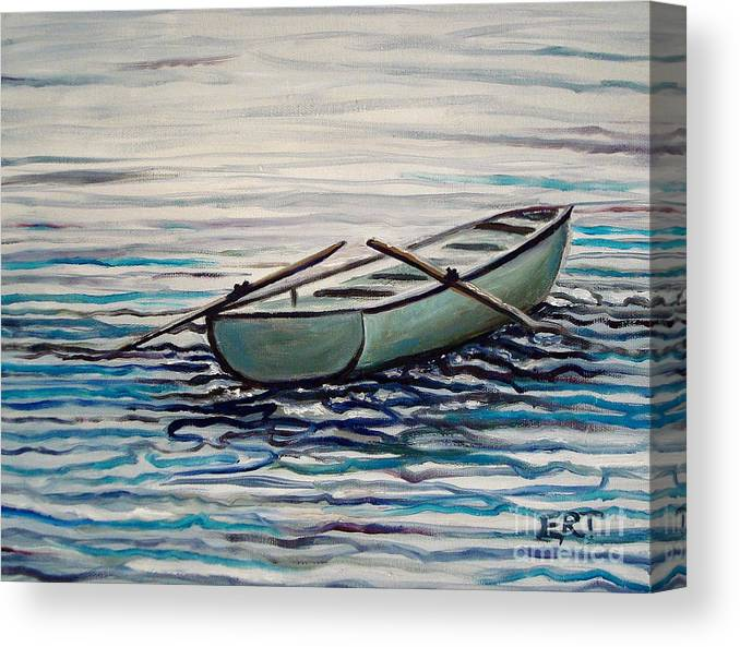 Water Canvas Print featuring the painting The Row Boat by Elizabeth Robinette Tyndall