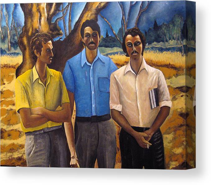 Portrait Canvas Print featuring the painting Three by Vladimir Kezerashvili