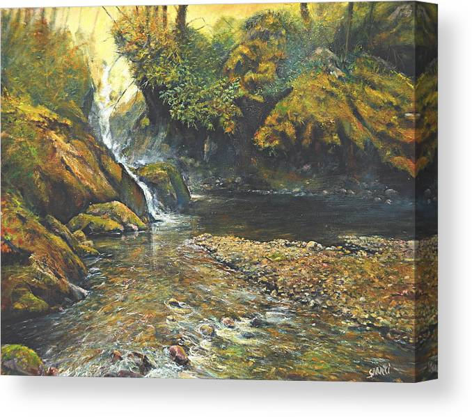 Landscape Canvas Print featuring the painting Toward The Source by Craig shanti Mackinnon