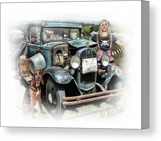 Truck Canvas Print featuring the digital art Trailer Trash Annie .... by Rat Rod Studios