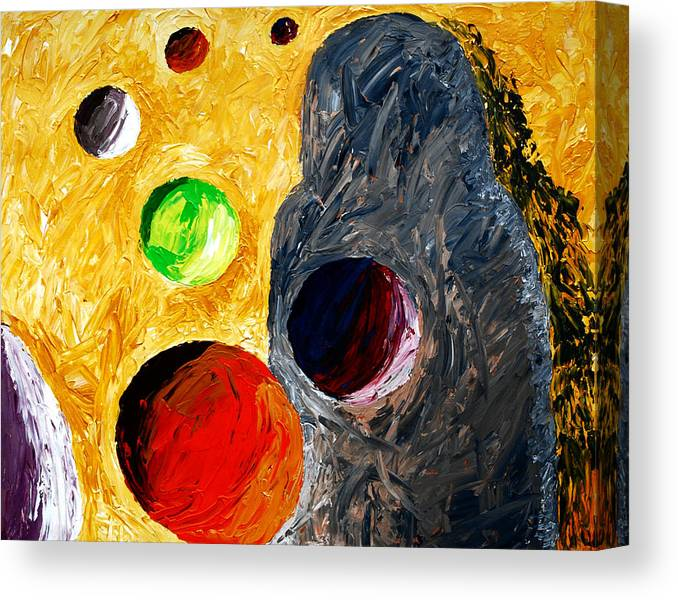 Trolls Canvas Print featuring the painting Trolls Walk Backwards In Time by Dorothy Berry-Lound