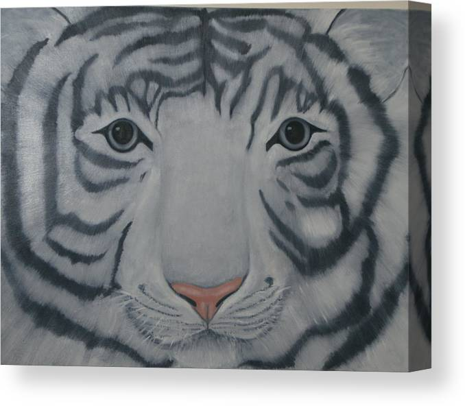 White Tiger Canvas Print featuring the painting White Tiger by Toni Berry