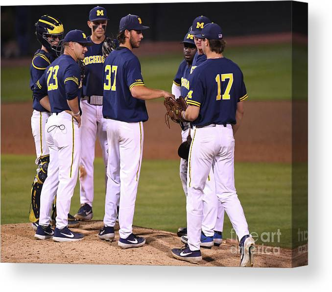 Sports Ball Canvas Print featuring the photograph Michigan V Ucla - Game One by Jayne Kamin-oncea