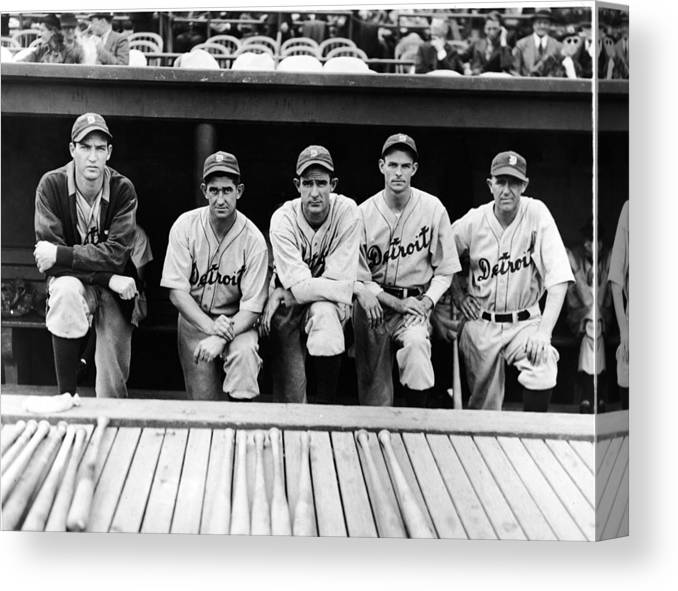 People Canvas Print featuring the photograph Detroit Tigers 1935 Pitching Staff And by Fpg