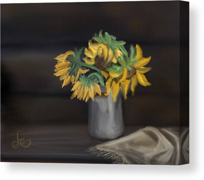 Canvas Print featuring the painting The Sun Flowers by Fe Jones