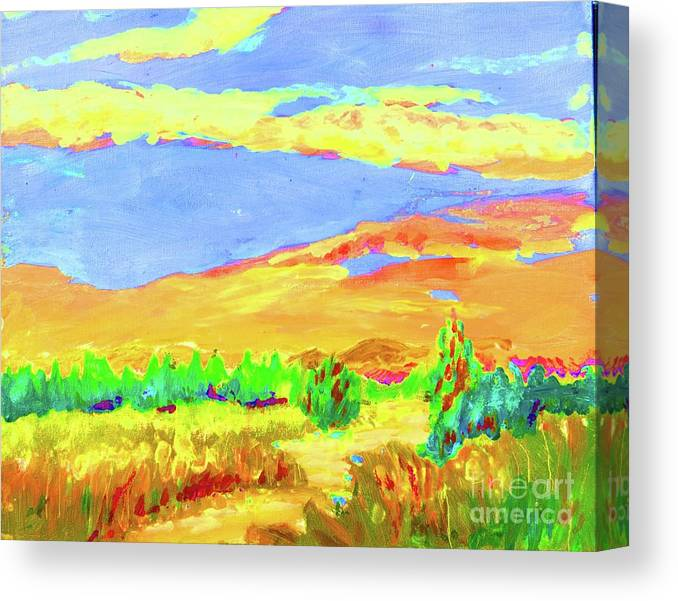 Orange Hills Canvas Print featuring the painting Vibrant Landscape by Lynn Rogers