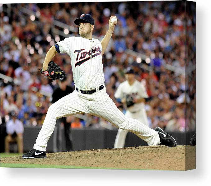 Ninth Inning Canvas Print featuring the photograph Glen Perkins by Marilyn Indahl