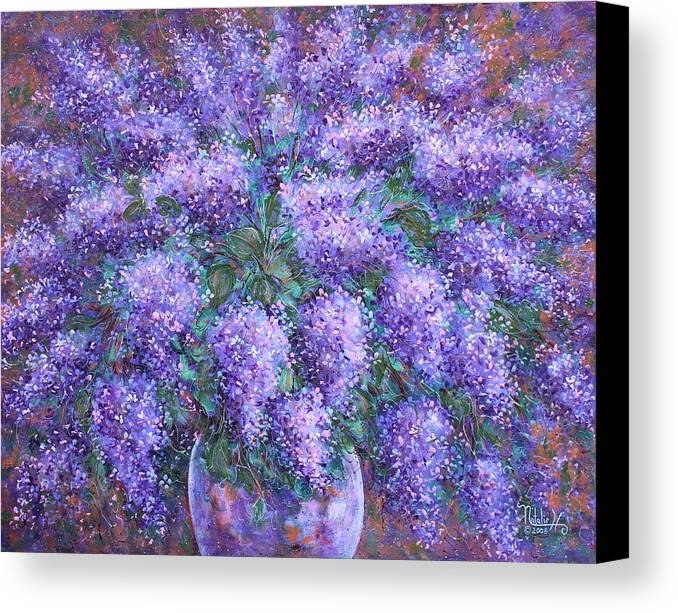 Flowers Canvas Print featuring the painting Scented Lilacs Bouquet by Natalie Holland