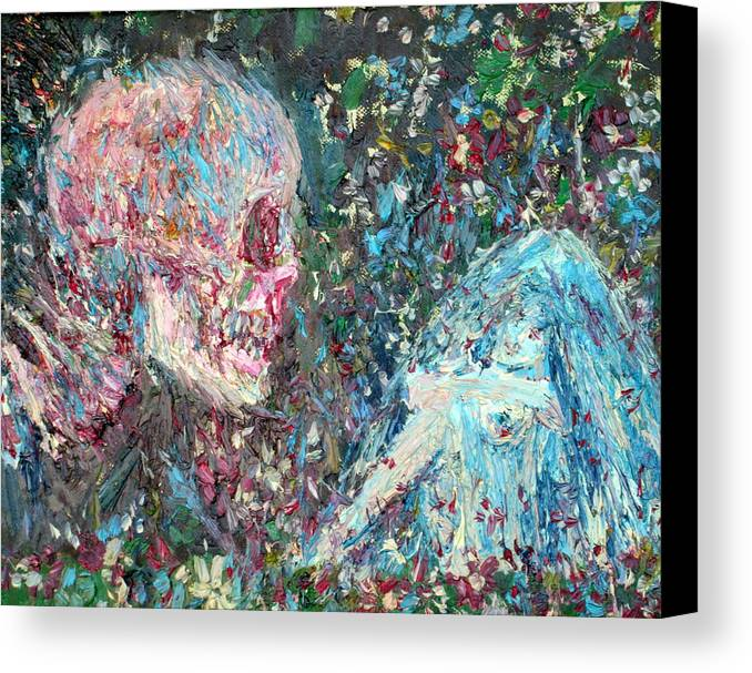 Skull Canvas Print featuring the painting Love Cannot Live By Heavenly Food Alone by Fabrizio Cassetta