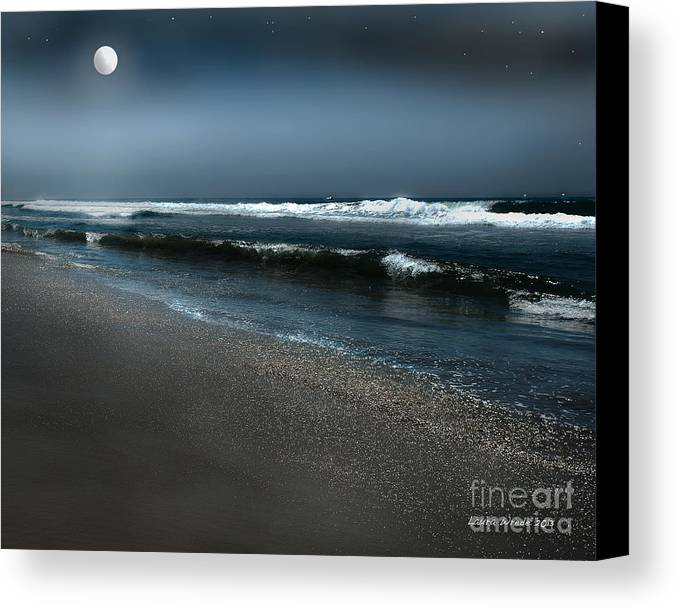 Beach Canvas Print featuring the photograph Night Beach by Artist and Photographer Laura Wrede