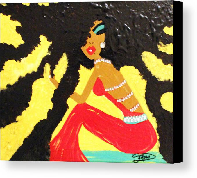 Hair Canvas Print featuring the painting Untitled by Artista Elisabet