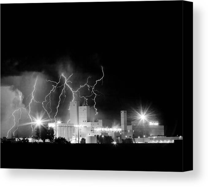 Lightning Canvas Print featuring the photograph Budweiser Lightning Thunderstorm Moving Out Bw by James BO Insogna