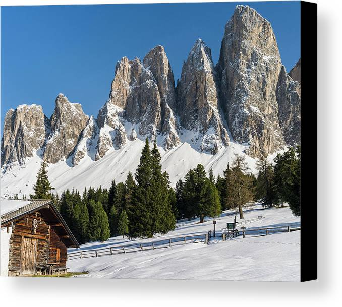 Alp Canvas Print featuring the photograph The Peaks Of The Geisler Mountain Range by Martin Zwick