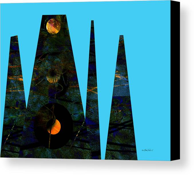 Abstract Canvas Print featuring the digital art abstract - art- Mystical Moons by Ann Powell