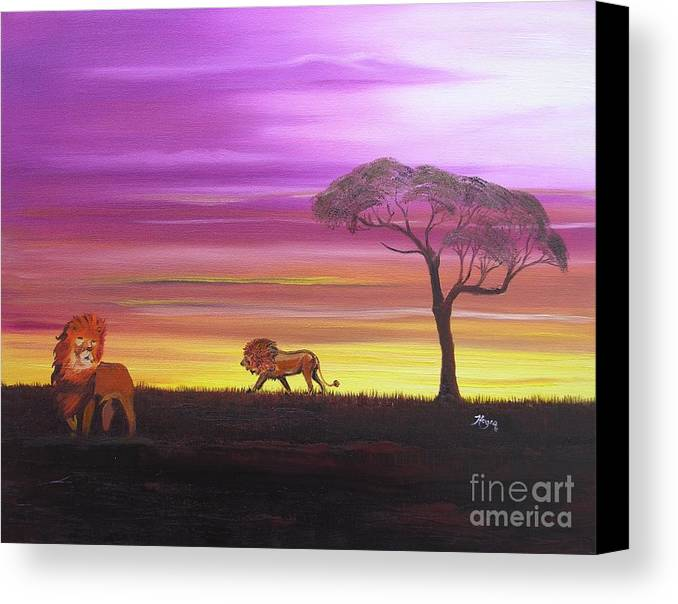 African Canvas Print featuring the painting African Lions by Barbara Hayes
