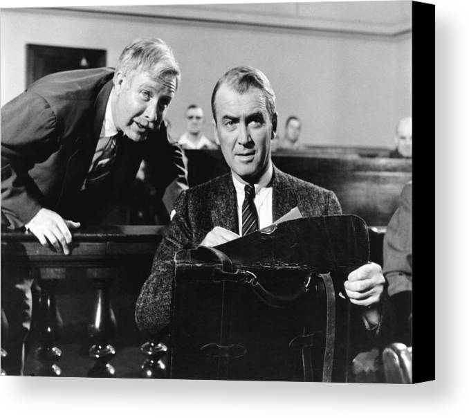 1950s Movies Canvas Print featuring the photograph Anatomy Of A Murder, From Left Arthur by Everett