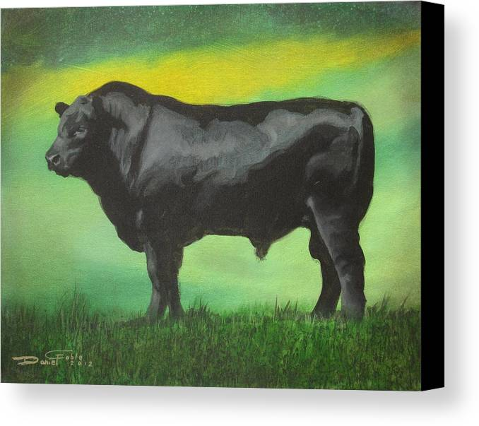 Angus Canvas Print featuring the painting Angus Bull by Daniel Goble