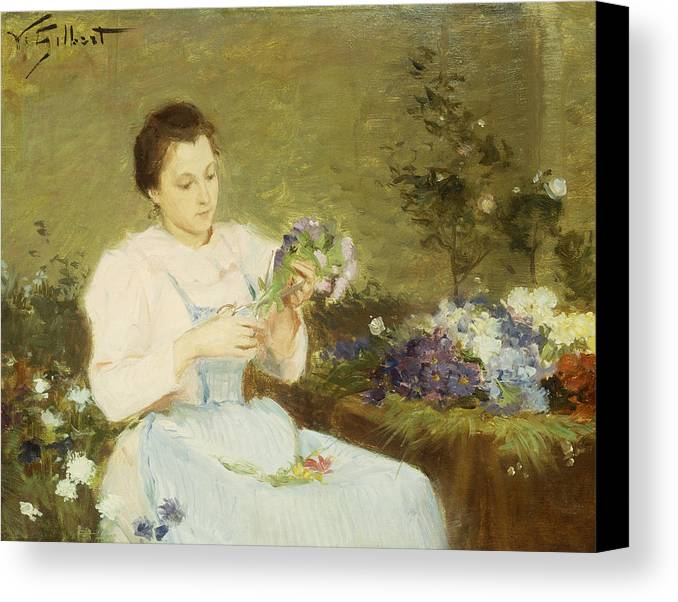 Arranging; Flowers; Flower; Spring; Bouquet; Posy; Floral; Girl; Female; Youth; Young; Seated; Apron; Florist; Floristry; Concentrating; Concentration; Impressionist-style; Loose; Handling; Painterly; Impressionistic; Impressionist Canvas Print featuring the painting Arranging Flowers For A Spring Bouquet by Victor Gabriel Gilbert