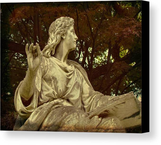 Mount Hope Cemetery Canvas Print featuring the photograph Red Autumn Sculpture by Gothicrow Images