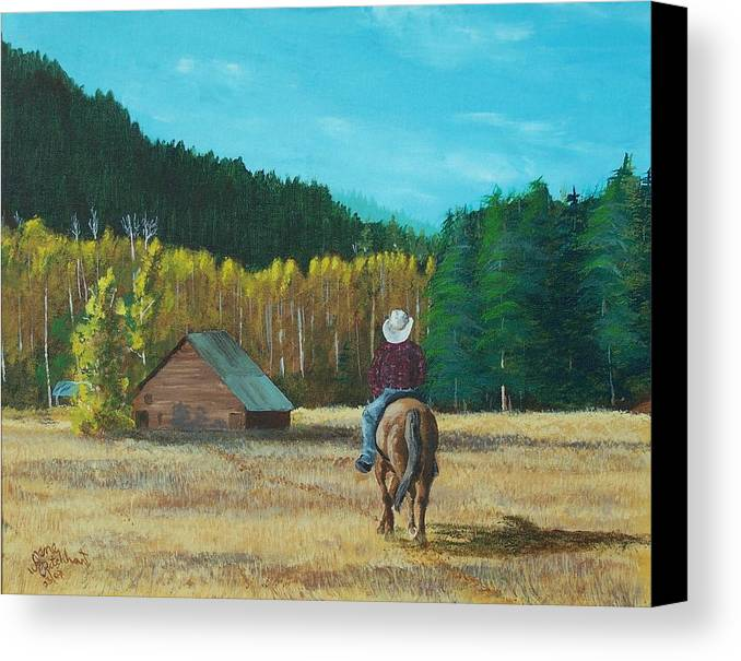 Landscape Canvas Print featuring the painting Back To The Barn by Gene Ritchhart