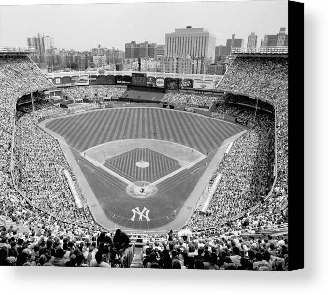 Yankee stadium canvas print featuring the photograph black and white yankee stadium by horsch gallery