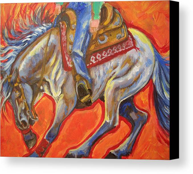 Horse Canvas Print featuring the painting Blue Roan Reining Horse Spin by Jenn Cunningham