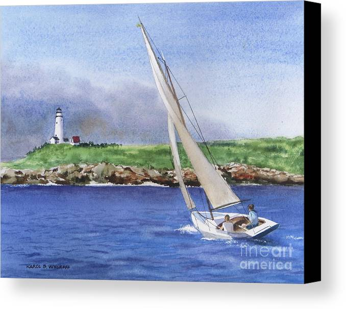 Seascape Canvas Print featuring the painting Boston Light by Karol Wyckoff