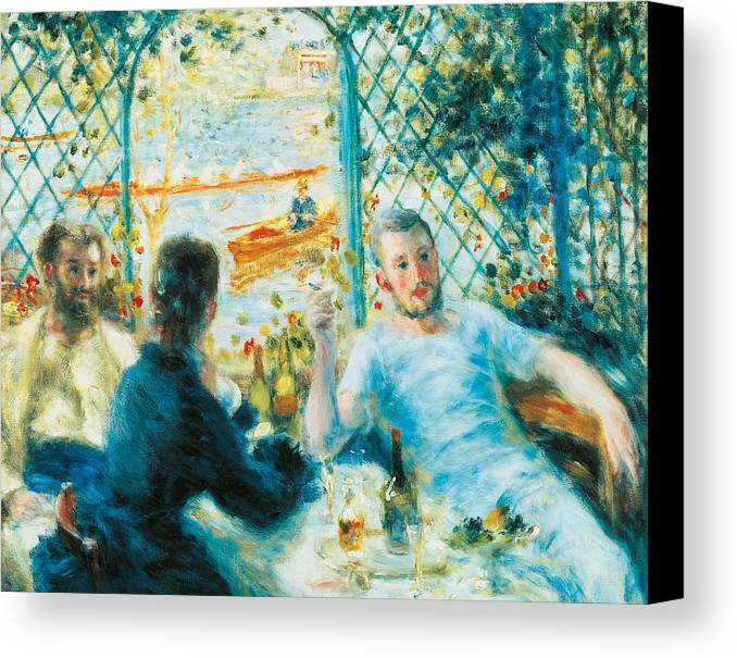 Art Canvas Print featuring the painting Breakfast By The River by Pierre-Auguste Renoir