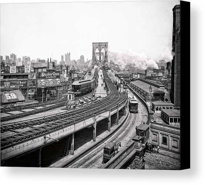 new York Canvas Print featuring the photograph Brooklyn Bridge And Terminal - 1903 by Daniel Hagerman