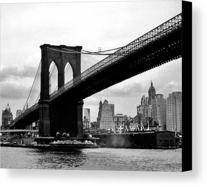 Brooklyn Canvas Print featuring the photograph Brooklyn Bridge Circa 1955 by David Lobos