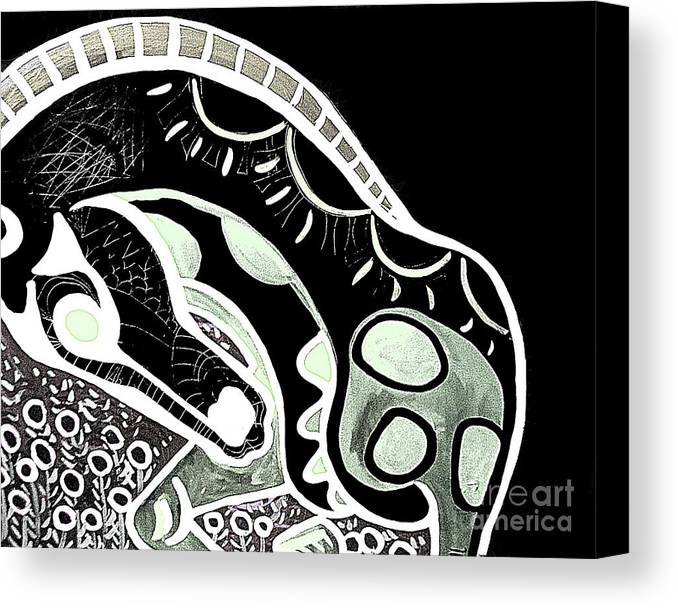 Horse Canvas Print featuring the painting Bw Horse by Amy Sorrell
