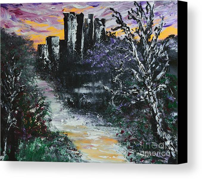 Glenveigh Canvas Print featuring the painting Castle Ruins At Dawn by Alys Caviness-Gober