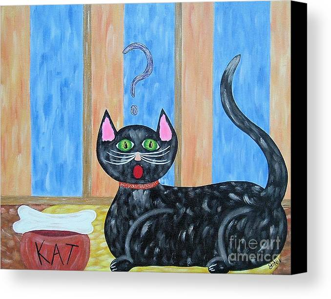 Cat Canvas Print featuring the painting Cat And Bone by JoNeL Art