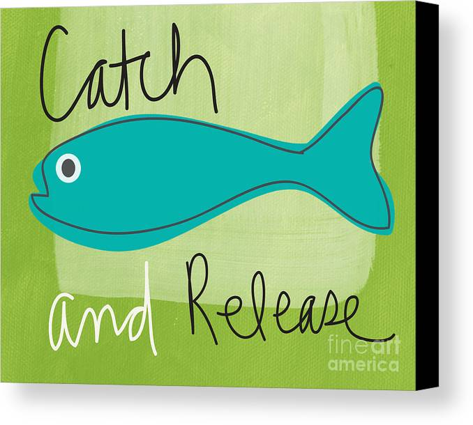 Fishing Canvas Print featuring the painting Catch And Release by Linda Woods